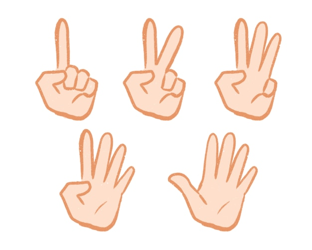 Numérotation des doigts main dessin animé dessiné à la main simple