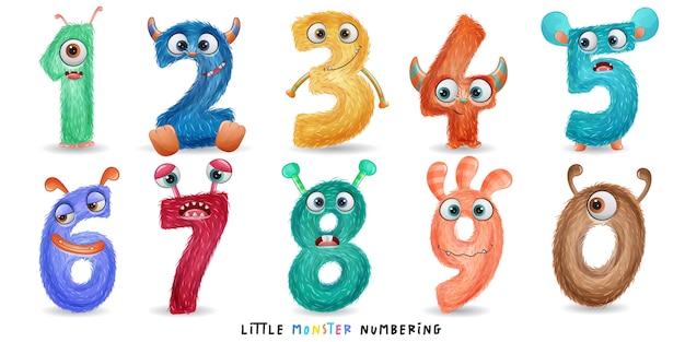 Numérotation de petit monstre mignon avec illustration aquarelle