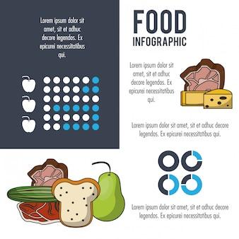 Nutrition et alimentation infographique gris
