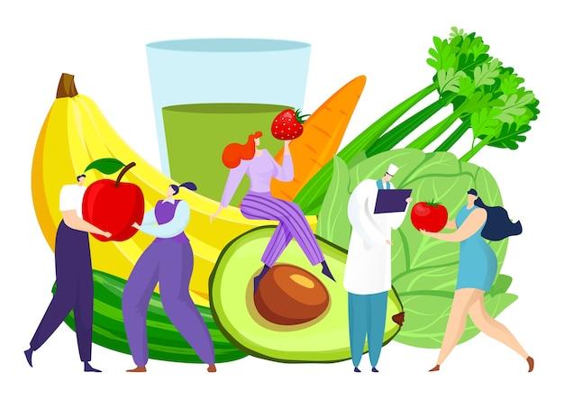 Nutrition de dessin animé avec des aliments diététiques de fruits frais pour illustration de la santé