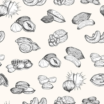 Nuts set hand draw sketch seamless pattern. style vintage