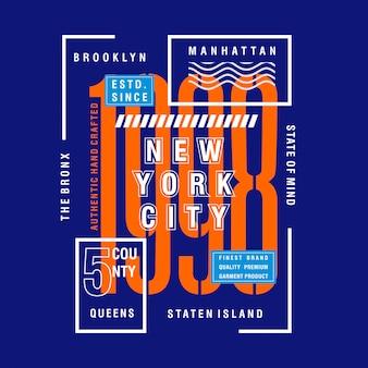 Nyc cinq comté vecteur de typographie design cool