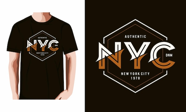 Nyc typographie t shirt vecteur premium