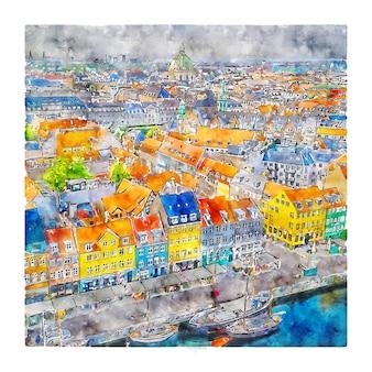 Nyhavn kobenhavn danemark croquis aquarelle illustration dessinée à la main