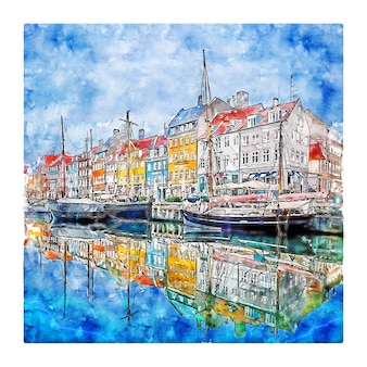 Nyhavn kobenhavn danemark illustration aquarelle croquis dessinés à la main