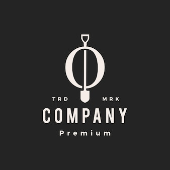 O lettre marque pelle bêche hipster logo vintage icône illustration vectorielle