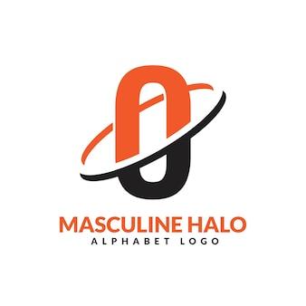 O lettre orange et noir anneau géométrique masculin logo vector illustration icône