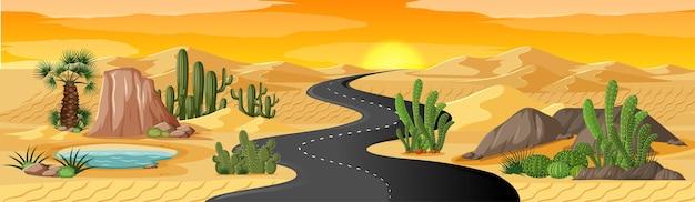 Oasis du désert avec scène de paysage de longue route