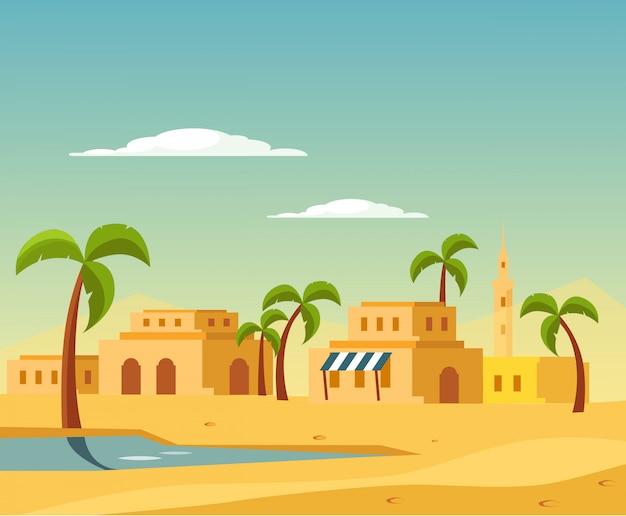 Oasis avec la ville dans le désert