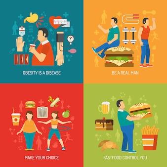 L'obésité concept flat