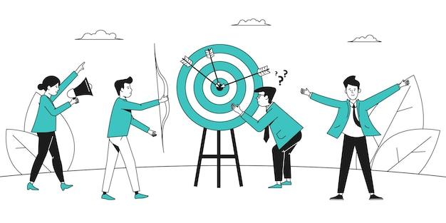 Objectif cible. l'équipe commerciale gagne, le succès de l'entreprise. progresser dans le travail et se concentrer sur l'objectif. scène vectorielle récente de marketing ou d'ambition des employés