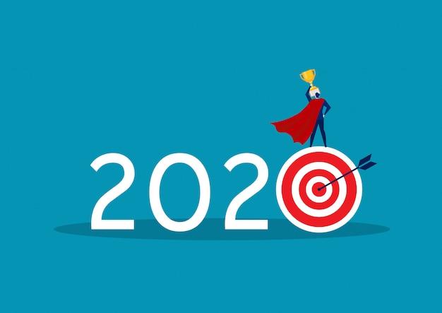 Objectif commercial 2020 avec espoir et grande récompense
