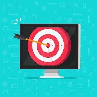 Objectif de réalisation cible avec la flèche dans le mille sur le dessin animé plat d'affichage d'ordinateur