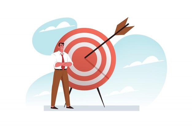 Objectif, réalisation des objectifs, concept de réussite commerciale