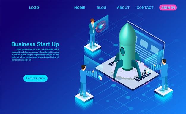 Objectif de réussite de l'entreprise. isométrique. page de destination