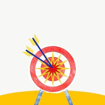 Objectifs et cible d'arrière-plan coloré avec des médias remixés par fléchettes et flèche