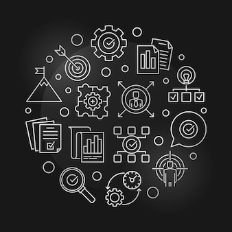 Objectifs commerciaux rond argent icône linéaire illustration