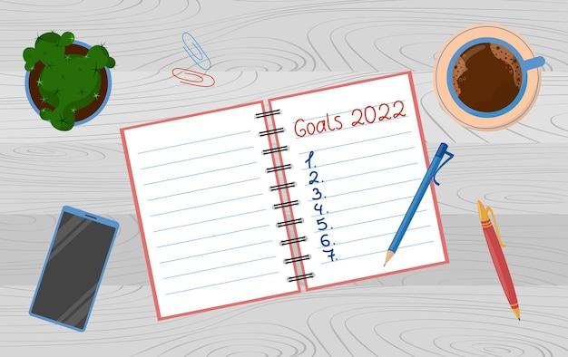 Objectifs pour l'année 2022. liste de cibles écrite sur le bloc-notes avec un stylo. planification, motivation pour la nouvelle année.