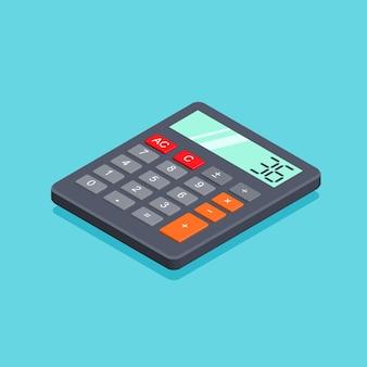 Objet de calculatrice dans un style isométrique branché isolé