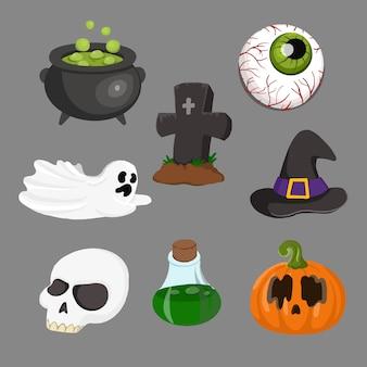 Objet d'éléments halloween heureux d'horreur, exemple citrouille, crâne, yeux, fantôme
