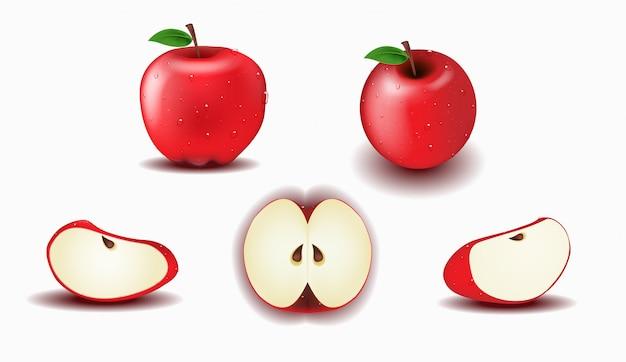 Objet, ensemble de pomme rouge fraîche