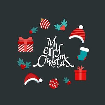 Objet festif décoratif joyeux noël et bonne année illustration vectorielle