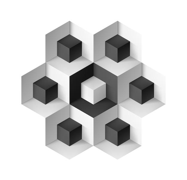 Objet géométrique abstrait avec des cubes sur fond blanc