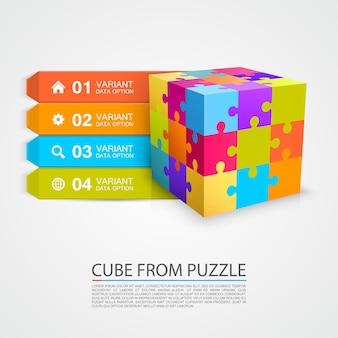 Objet d'informations sur le cube de puzzle coloré. illustration vectorielle