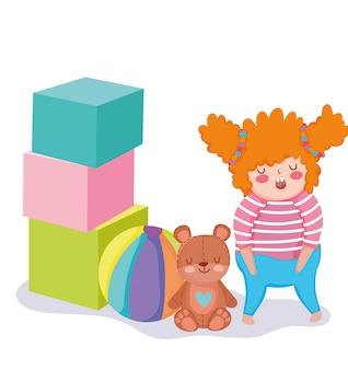 Objet de jouets pour les petits enfants à jouer au dessin animé, petite fille avec boule d'ours et illustration de blocs énormes