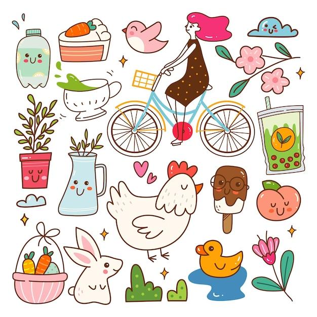 Objet lié au printemps illustration vectorielle de kawaii doodle