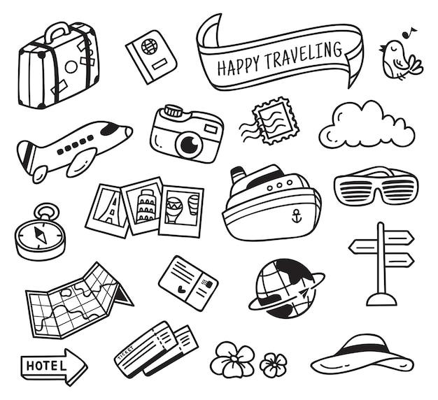 Objet lié au voyage dans le style de doodle