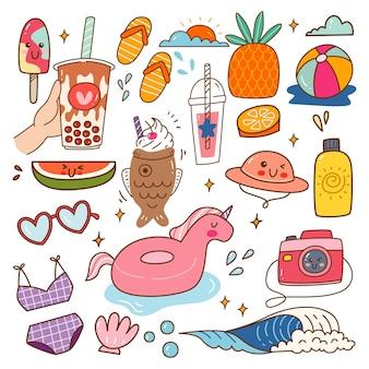 Objet lié à la plage illustration vectorielle de kawaii doodle