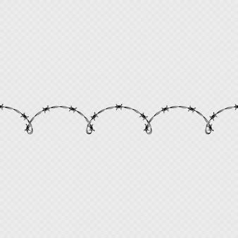 Objet et modèle d'éléments de bordure sans soudure horizontale en fil de fer barbelé métallique.