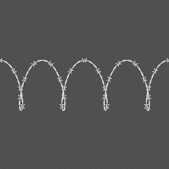 Objet de modèle et éléments de bordure transparente horizontale de fil de fer barbelé en métal