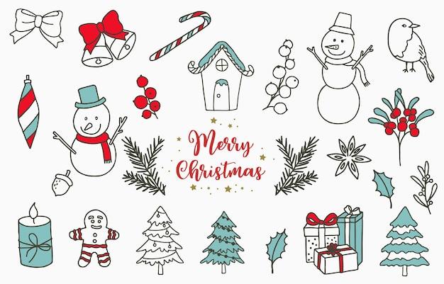 Objet de noël avec bonhomme de neige, maison, fleur, cadeau