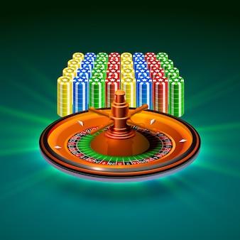 Objet de roulette de casino réaliste sur le fond vert. illustration vectorielle