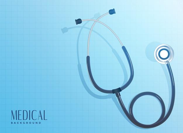 Objet stéthoscope docteur sur fond bleu