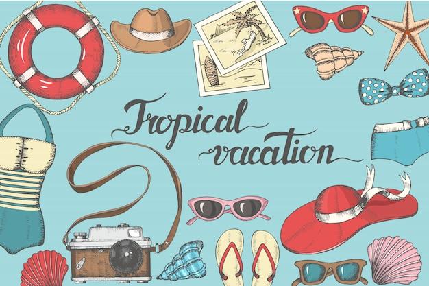 Objets et accessoires d'été vintage, vacances tropicales