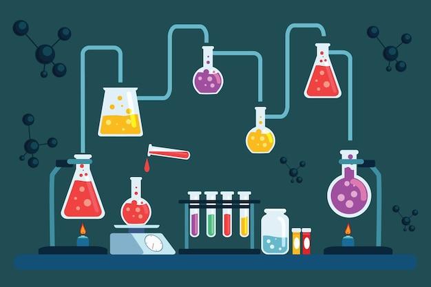 Objets et atomes de laboratoire scientifique dessinés à la main