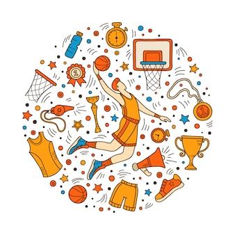 Objets de basket-ball et symboles colorés doodle.