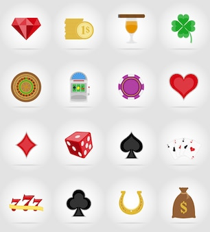 Objets de casino et icônes plates équipement vector illustration