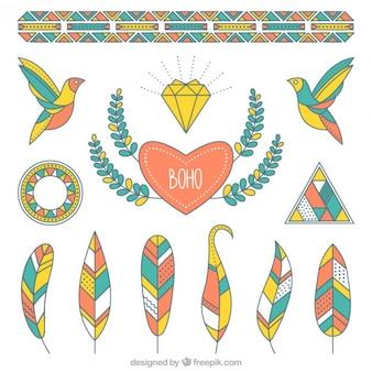 Objets colorés géométriques dans le style boho