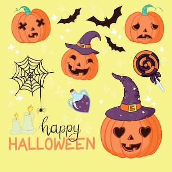 Objets et créatures carte de voeux halloween
