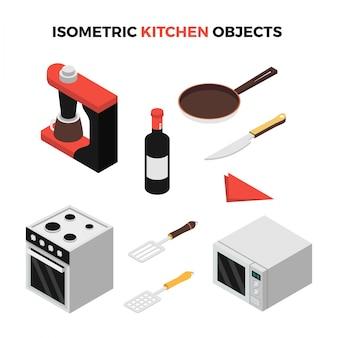 Objets de cuisine isométriques