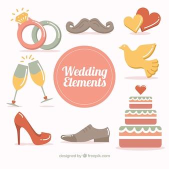 Objets dessinés à la main pour le jour du mariage