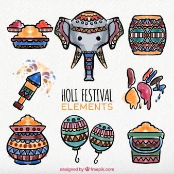 Objets du festival de holi colorés peints à l'aquarelle