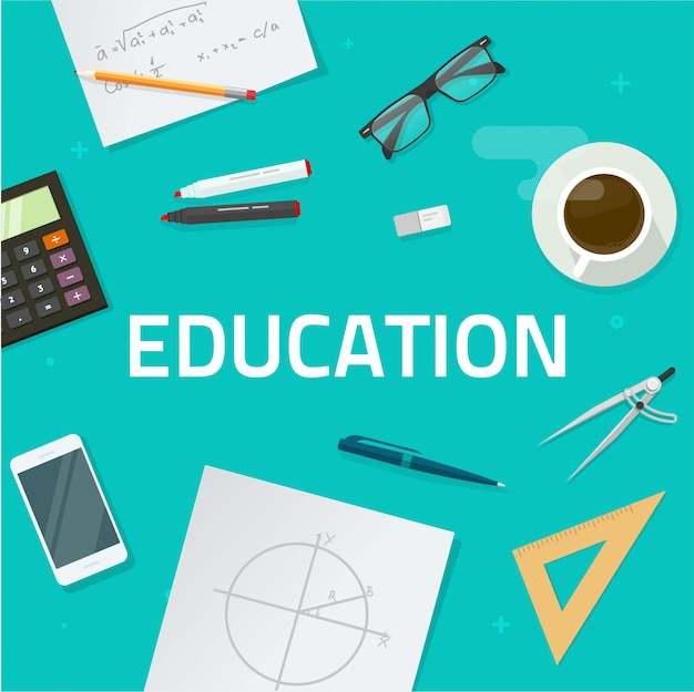 Objets d'éducation sur le bureau
