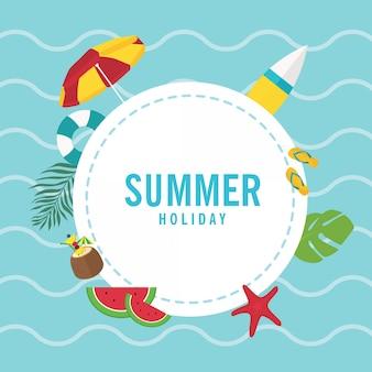 Objets d'élément brise d'été avec espace cercle pour le message de note sur le concept de plage
