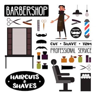 Objets, éléments et fournitures de salon de coiffure et personnage de barbier.
