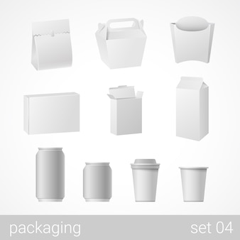 Objets d'emballage blanc vierges isolés sur illustration blanche